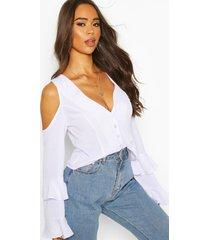 cold shoulder flute sleeve blouse, white