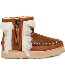 fluff punk shearling & leather booties