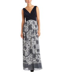 r & m richards petite gathered-bust floral-mesh dress