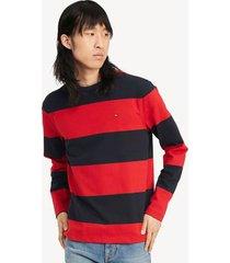 tommy hilfiger men's essential rugby stripe t-shirt red/navy - xxxl