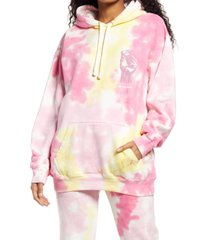 women's cross colours power to the people tie dye graphic hoodie, size x-large - pink