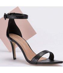 amaro feminino sandália bico fino fivela forrada, preto