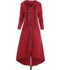 plus size buckle high low long coat
