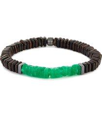 legno' mamalis wood quartz silver square disc bead bracelet