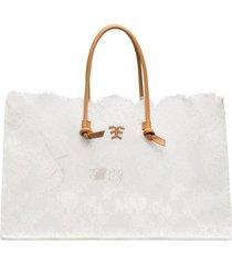ermanno scervino lace tote bag - white