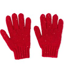 bonpoint chunky knit gloves - red