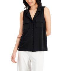 alfani solid button-down collared v-neck knit top