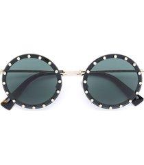 valentino eyewear studded round sunglasses - black