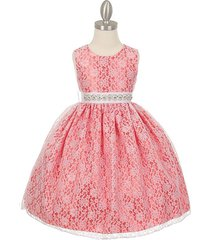 coral two-tone full lace with pearl sequin rhinestone sash flower girl dress