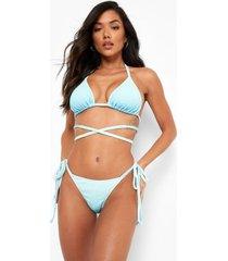 ombre bikini broekje met zijstrikjes, blue