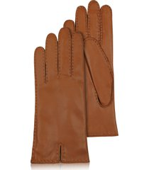 forzieri designer women's gloves, women's cashmere lined brown italian leather gloves
