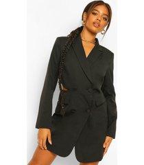 getailleerde blazer jurk met uitgesneden rug, black