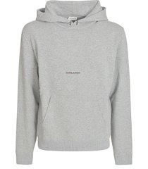 saint laurent centre logo print hoodie