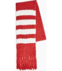 mens red and white knitted stripe scarf