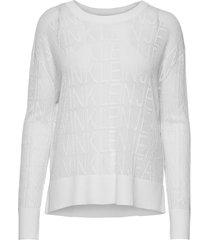 relaxed mesh sweater gebreide trui wit calvin klein jeans