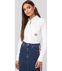 calvin klein cotton satin western crop shirt - white