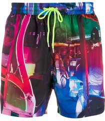 paul smith drawstring abstract print swim shorts - pink