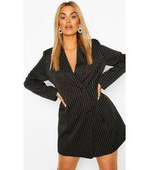plus double breasted pinstripe blazer dress, black