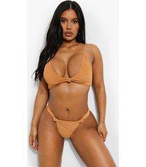 mix & match gekreukelde opgeknoopte bikini top, camel