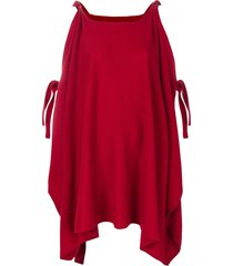 cashmere in love cashmere cape with bow ties - red