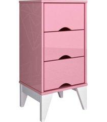 mesa de cabeceira 3 gav. twister quartzo rosa tcil mã³veis - rosa - dafiti