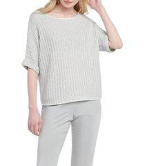 women's nic+zoe glow for it sweater, size x-large - grey