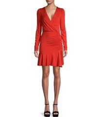 bailey 44 women's leonora ruched wrap dress - pimento - size xl