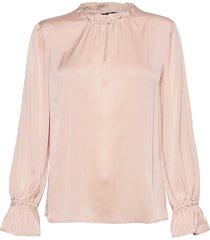 satin stretch - raya f sleeve blouse lange mouwen roze sand