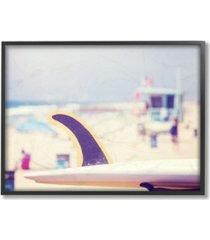 "stupell industries surfboard on beach photograph framed giclee art, 16"" x 20"""