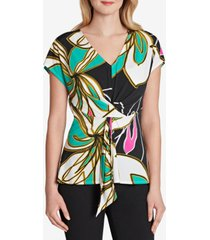 tahari asl printed twist-front top