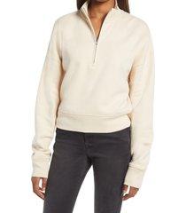 women's reformation marla half zip sweatshirt, size x-large regular - beige