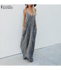 zanzea mujeres del tirante de espagueti de rayas fiesta vestido de tirantes maxi vestido del club de playa -gris