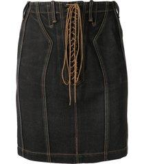 alaïa pre-owned high-waist denim skirt - black