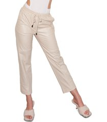 lna faux-leather pull-on cropped pants