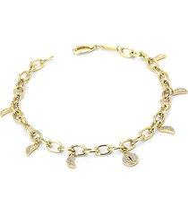 adriana orsini 14k women's phase 14k gold & diamond charm bracelet