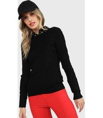 sweater only negro - calce ajustado
