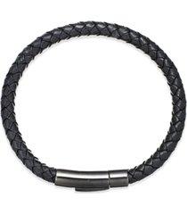 men's black leather bangle bracelet in stainless steel
