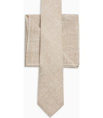 mens beige stone textured tie and stone pocket square