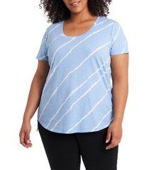 plus size women's vince camuto tie dye stripe scoop neck top, size 1x - blue