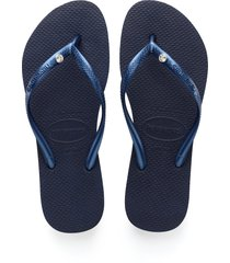 women's havaianas 'slim crystal glamour' flip flop, size 37/38 br - blue
