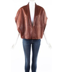 brunello cucinelli brown leather vest jacket brown sz: l