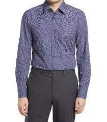 men's big & tall boss jano slim fit button-up dress shirt, size 18 - blue
