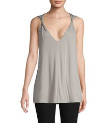 twisted-strap cotton-blend tank top