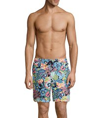 tropical floral stretch-cotton swim shorts