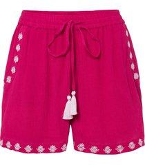 shorts in tessuto con ricami (fucsia) - rainbow