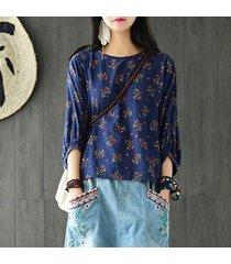 zanzea mujeres retro floral impresos 3/4 manga tops blusas suéter de cuello redondo señoras del otoño floja ocasional del camiseta top de la blusa azul -azul