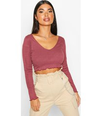 petite lettuce hem v-neck long sleeve crop top, wine