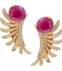 hueb women's apus 18k yellow gold, ruby & diamond earrings