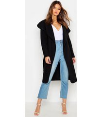 belted shawl collar coat, black