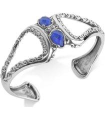 carolyn pollack lapis lazuli/rock quartz openwork statement cuff bracelet (4-1/5 ct. t.w.) in sterling silver